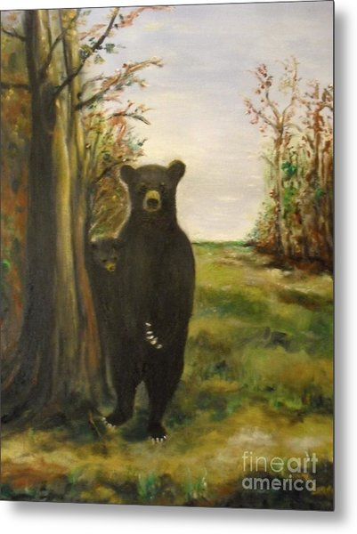 Metal Print featuring the painting Bear Necessity by Laurie Lundquist