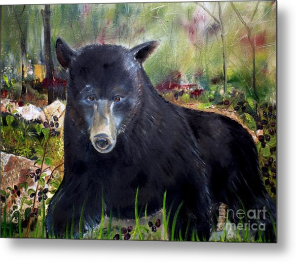 Bear Painting - Blackberry Patch - Wildlife Metal Print