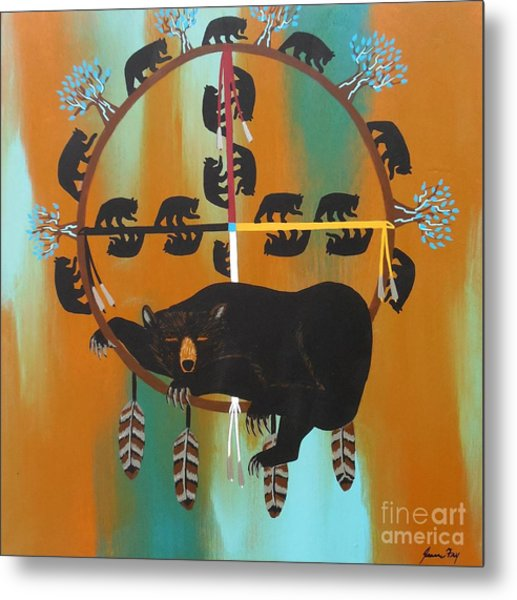 Bear Totem And Medicine Wheel Metal Print