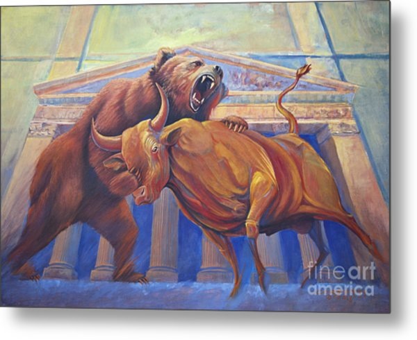 Bear Vs Bull Metal Print