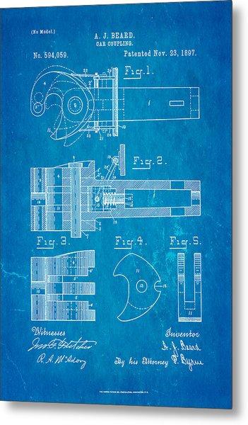Train blueprint metal prints and train blueprint metal art page 2 beard railroad coupler patent art 1897 blueprint metal print malvernweather Choice Image