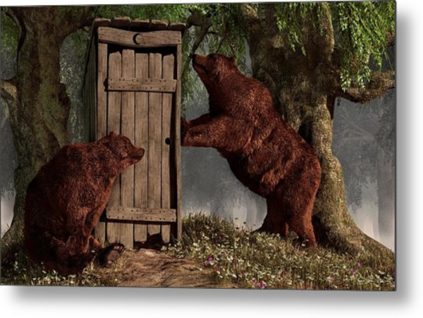 Metal Print featuring the digital art Bears Around The Outhouse by Daniel Eskridge
