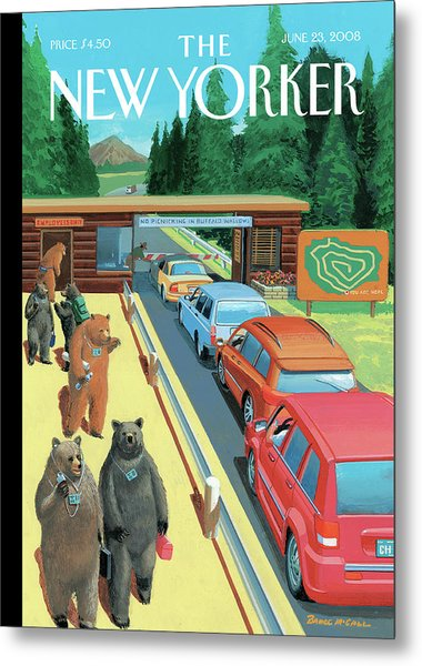 Bears Leaving Work At A National Park Metal Print