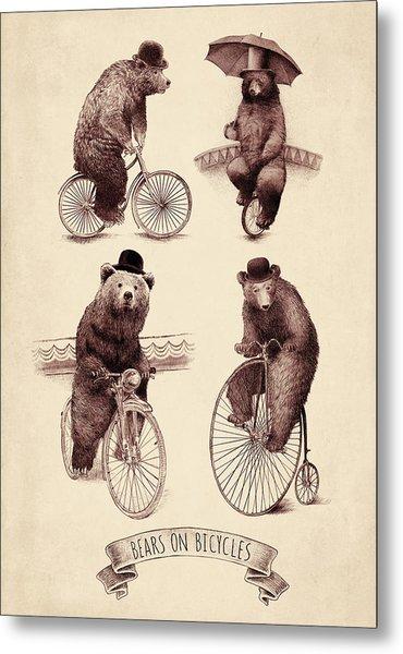 Bears On Bicycles Metal Print