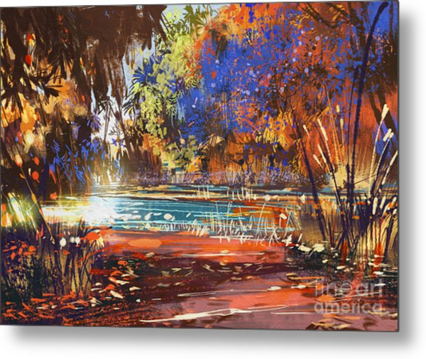 Beautiful Autumn Landscape With Flowers Metal Print