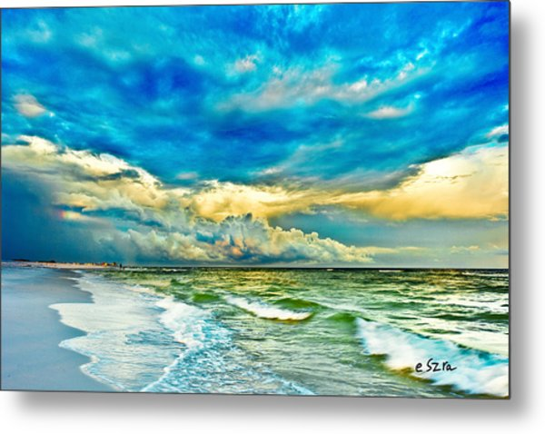 Beautiful Beach Blue Sea Metal Print