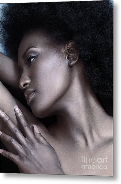 Beautiful Black Woman Face With Shiny Silver Skin Metal Print