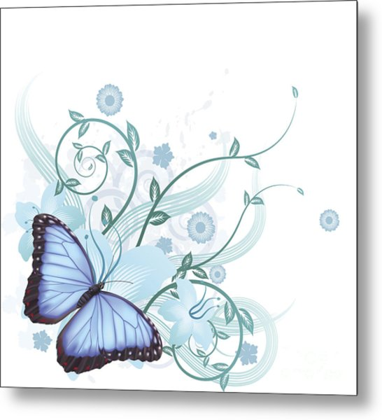 Beautiful Blue Butterfly Background Metal Print by Christos Georghiou