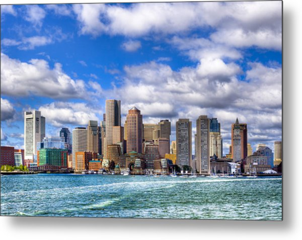 Beautiful Boston Skyline From The Harbor Metal Print