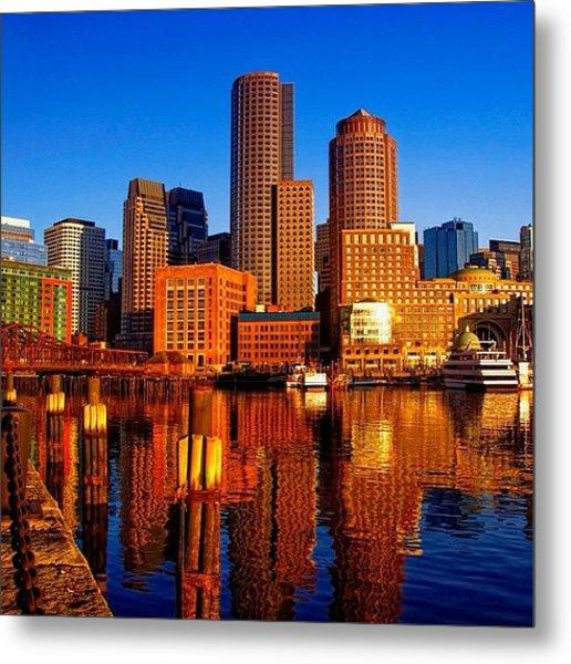 Beautiful Boston Sunrise Shining On The Metal Print