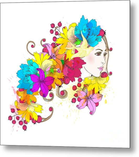 Beautiful Fashion Women With Abstract Metal Print
