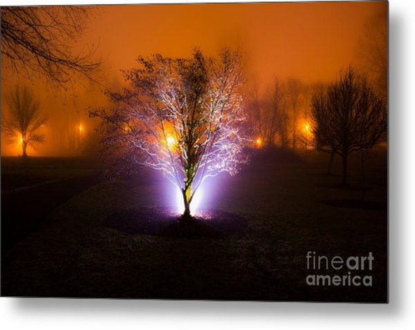 Beautiful Foggy Night 2 Metal Print