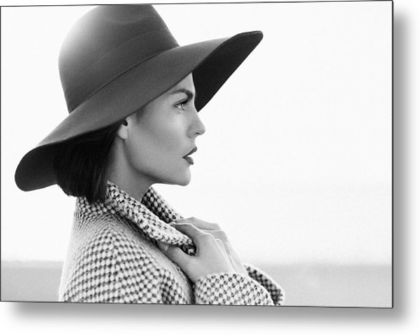 Beautiful Girl With Make-up, Dressed In Old-fashioned Coat And Hat Metal Print by CoffeeAndMilk