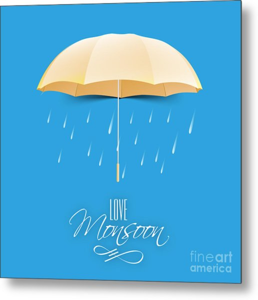 Beautiful Glossy Golden Umbrella On Metal Print by Allies Interactive