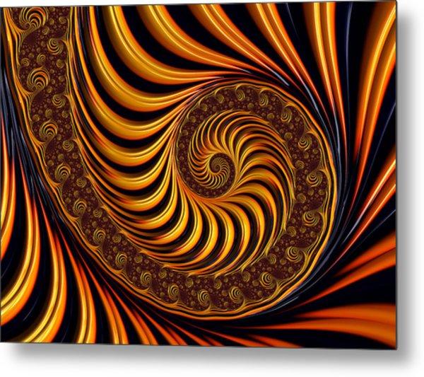 Beautiful Golden Fractal Spiral Artwork  Metal Print