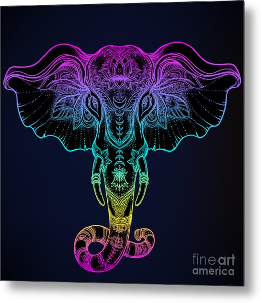 Beautiful Hand-drawn Tribal Style Metal Print by Gorbash Varvara