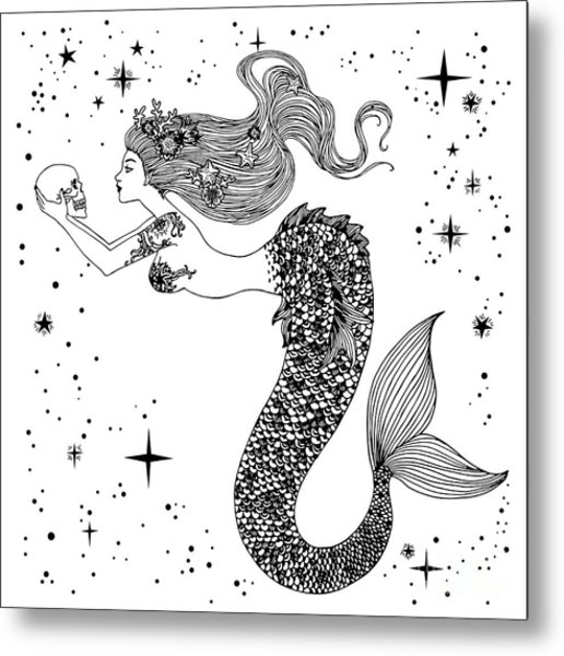 Beautiful Mermaid With Human Skull In Metal Print by Anastasia Mazeina