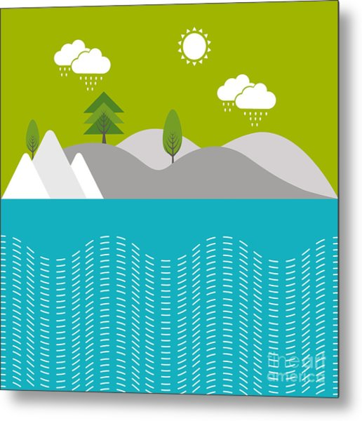 Beautiful Nature Background With River Metal Print by Allies Interactive
