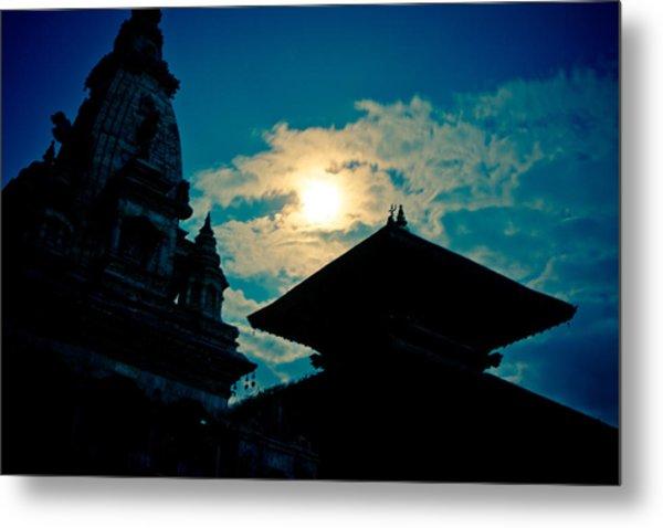 Beautiful Night Scene In Old Town Bhaktapur Metal Print