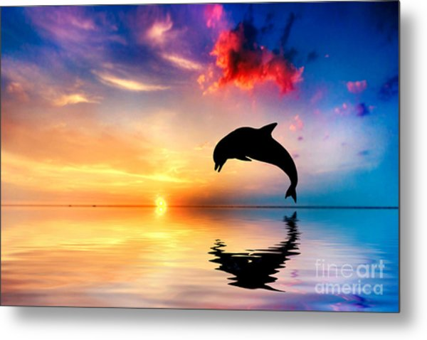 Beautiful Ocean And Sunset With Dolphin Jumping Metal Print