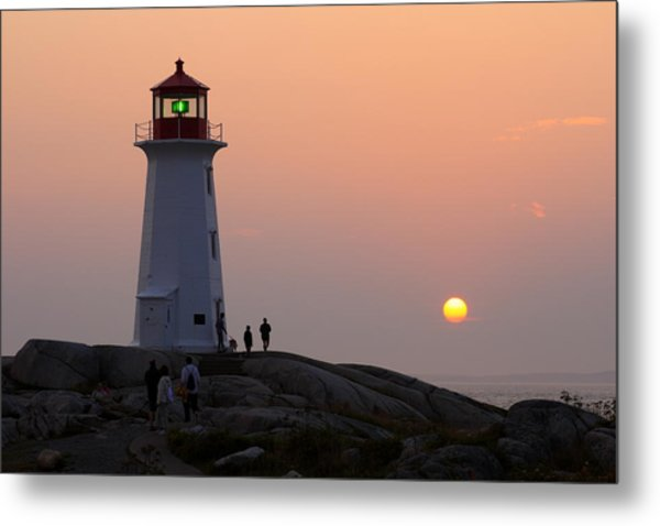 Beautiful Peggy's Cove Lighthouse Sunset Metal Print