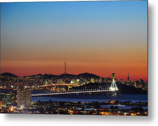 Beautiful Sunset Over The New Bay Bridge And San Francisco Metal Print