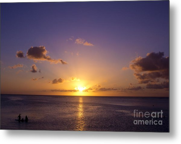Beautiful Tropical Island Sunset On The Beach In Guam Metal Print