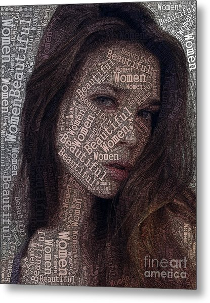 Beautiful Women Typography Design Metal Print by Boon Mee