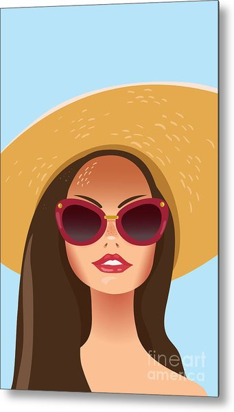 Beautiful Young Woman With Sunglasses Metal Print