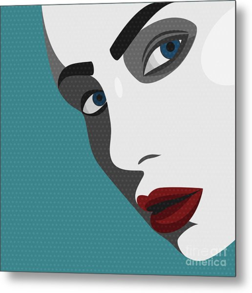 Beauty Pop Art Young Woman With Red Metal Print by Svyatoslav Aleksandrov