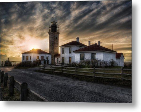 Beavertail Lighthouse Sunset Metal Print