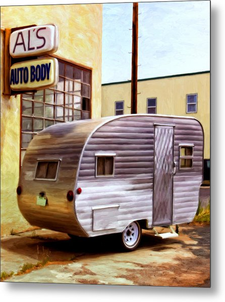 Becky's Vintage Travel Trailer Metal Print