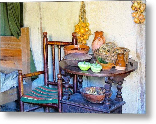 Bedside In A Pilgrim Cottage Metal Print by Constantine Gregory