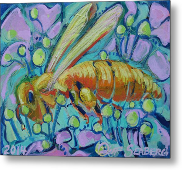 Bee Happy Metal Print