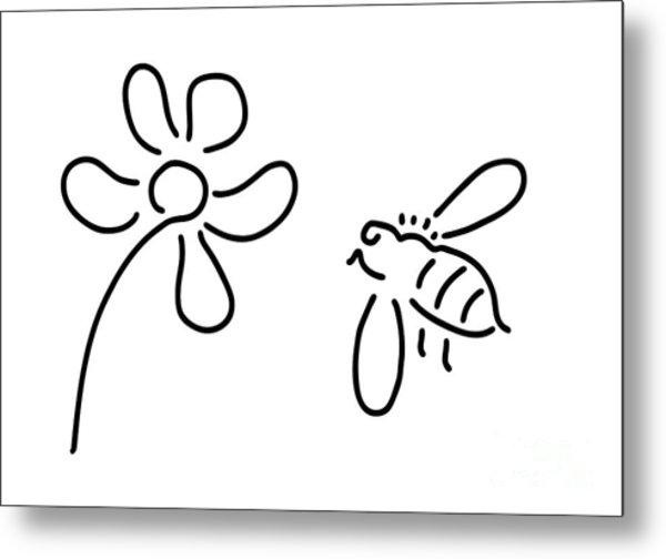 Bee Honey Flower Blossom Metal Print