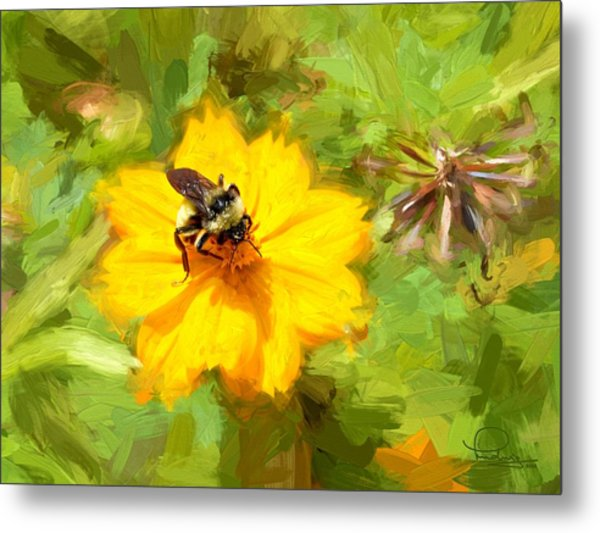 Bee On Flower Painting Metal Print