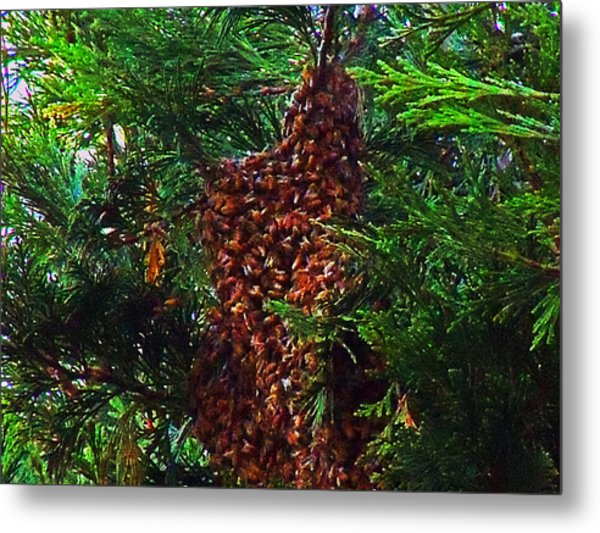 Bee Swarm Metal Print