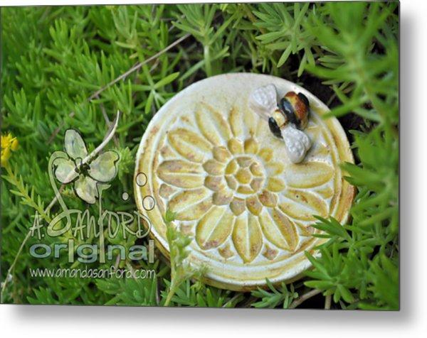 Bee-ware Metal Print by Amanda  Sanford