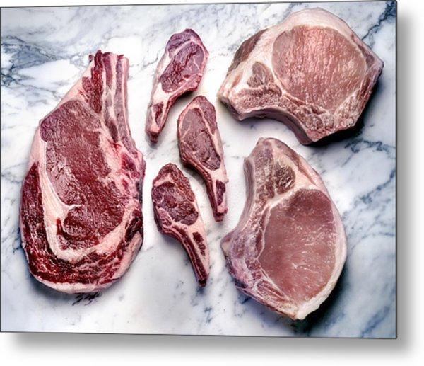 Beef Lamb Pork Raw Metal Print by ATU Images