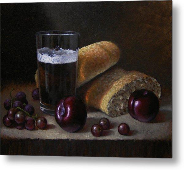 Beer Bread And Fruit Metal Print