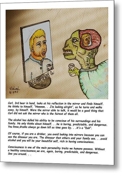 Beer Drinker In The Mirror Metal Print