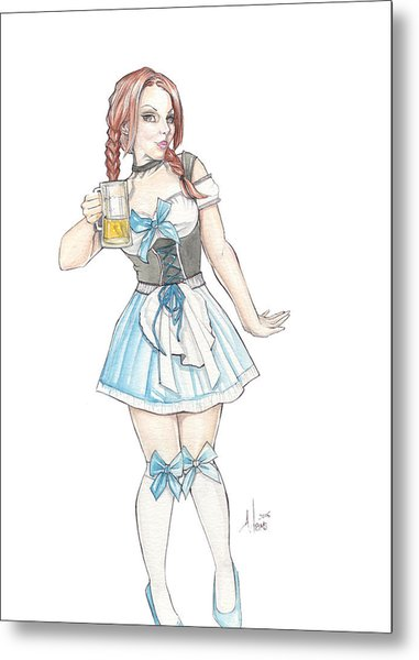 Beer Girl Metal Print
