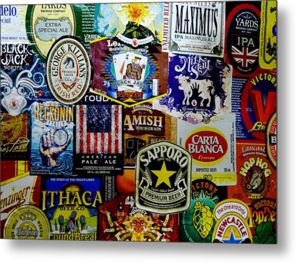 Beer Labels Metal Print