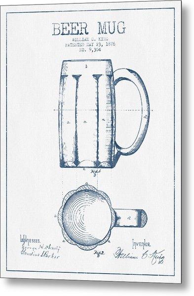 Beer Mug Patent From 1876 -  Blue Ink Metal Print