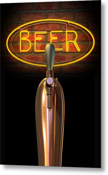 Beer Tap Single With Neon Sign Metal Print