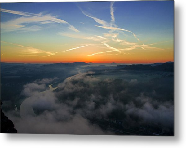 Before Sunrise On The Lilienstein Metal Print