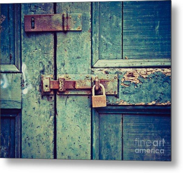 Behind The Blue Door Metal Print