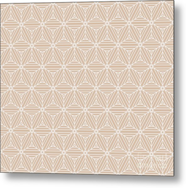 Beige Color Seamless Texture Of Cubes Metal Print
