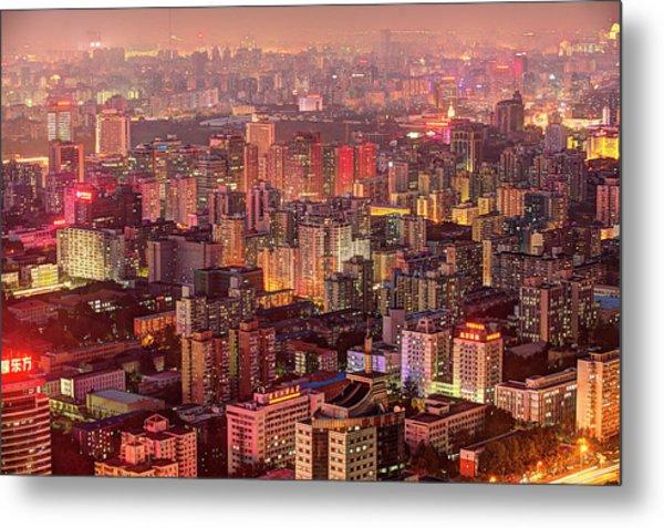 Beijing Buildings Density Metal Print by Tony Shi Photography