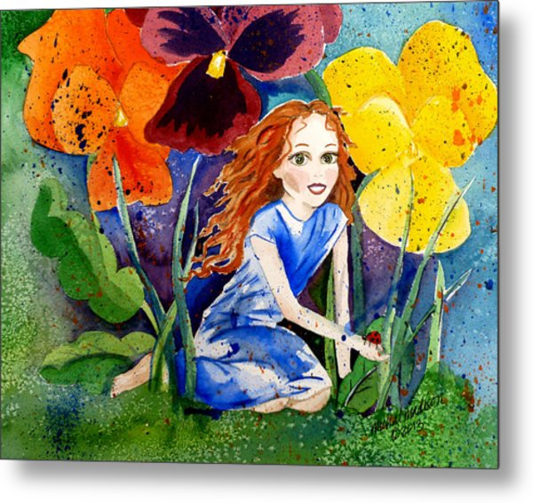 Tiny Flower Fairy Metal Print